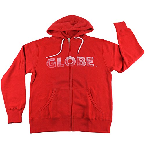 Globe Mens Hoodie (GLOBE Zip Up Skateboard Hoodie Reaping Red/White SIZE LARGE)