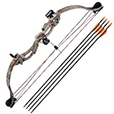 Kids Junior Youth Archery Compound Bow Right Hand Set w/4pcs 28' Arrows Draw Weight 20lbs Hobby Practice Camo