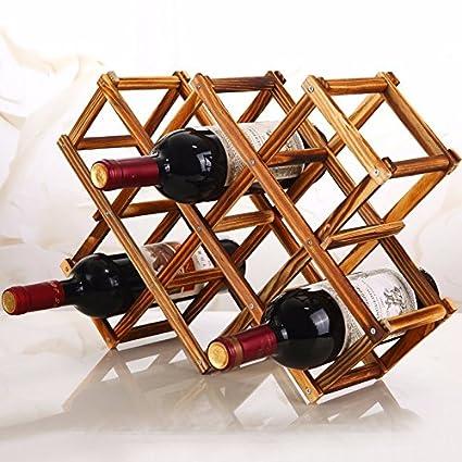 Pliegue creativo de madera auténtica bodega más botellas de vino de Madera bastidor soporte de botella