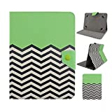 Tsmine Nextbook Ares 8 / Nextbook 8-inch Tablet Flip Hybrid Wave Case - Universal Protective Lightweight Premium Fashion Hybrid Green Waves Printed PU Leather Case Cover, Green Waves