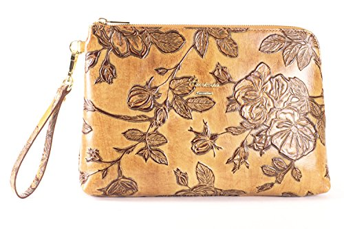 Beige Embossed Handbag - Cuoieria Fiorentina Italian Embossed Tooled Leather Pochette Handbag (Beige)