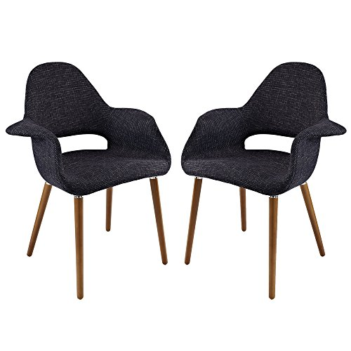 Price comparison product image Black Eames Saarinen Organic Accent Armchair Set of Two FMP251127