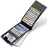 JEEBURYEE Womens Wallet RFID Blocking Multi Credit Card Holder Genuine Leather Long Bifold Clutch Travel Purse with ID Window Black