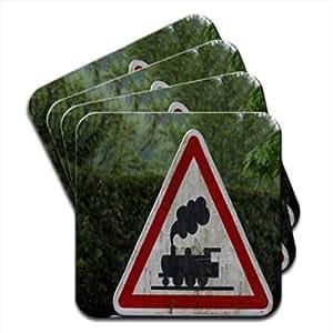 Vapor tren Ahead de señal conjunto de 4posavasos de madera Premium