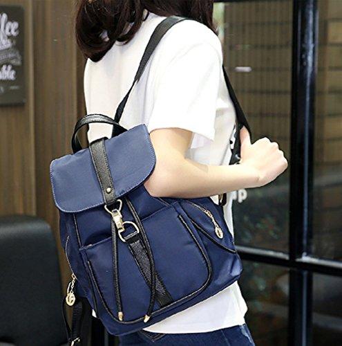 Moda College Mochilas - Landove Mujer de Casuanl PU Mochilas Escolares Bolsos mochila Azul Azul