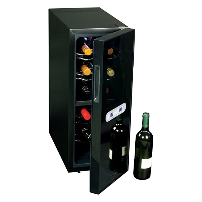 Koolatron WC12DZ Koolatron 12 Bottle Dual Zone Wine Cellar, Black/Silver