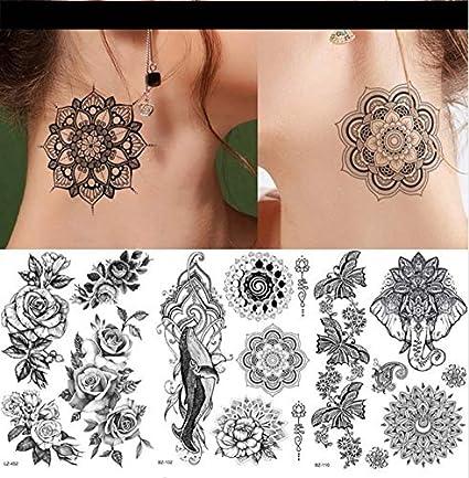 ruofengpuzi Adesivo tatuaggioSexy Plantas Indias Negro Falso ...
