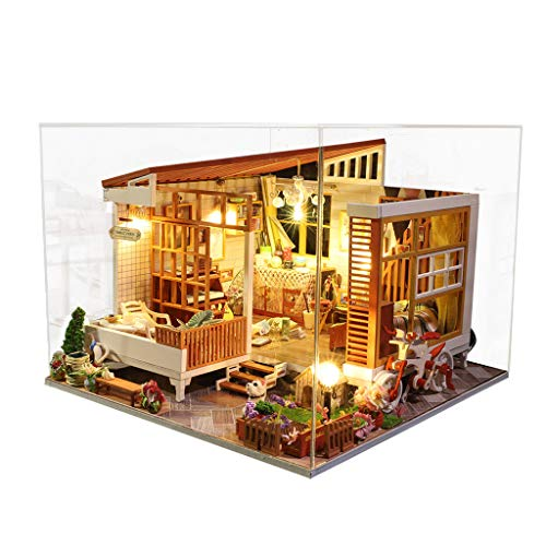 NszzJixo9 DIY Wooden Miniature Houset - 3D Wooden House Furniture LED Puzzle Decorate Creative Gifts,Handmade Mini Plus Apartment Home Doll Toys for Children Gift (B)