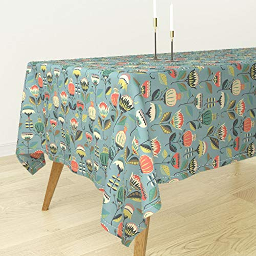 Roostery Blue Floral Spring Folk Tablecloth - Folk Spring Flowers Folk Folk Art Floral Flowers Bulb Southwest Pysanky by Mintedtulip - Cotton Sateen Tablecloth 90 x 90