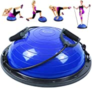 Sportneer Balance Trainer Ball, Half Yoga Balance Board with Resistance Bands and Pump for Core Ab Training Ho