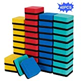 40 Pack Dry Erase Erasers, Magnetic Whiteboard Eraser (1.97 x 1.97 Inches, Blue) Chalkboard Cleansers Wiper Whiteboard Markers for Classroom,Home and Office,4 Assorted Colors(Blue, Red, Green, Yellow)