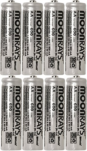 Moonrays 47740SP Rechargeable NiCd AA Batteries for Solar Powered Units, Pack of 80 Batteries by Moonrays