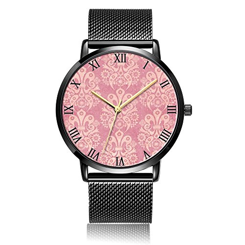 Whiterbunny Customized Pink Fleur De Lis Pattern Wrist Watch Unisex Analog Quartz Fashion Black Steel Strip/Black Dial Plate for Women and Men