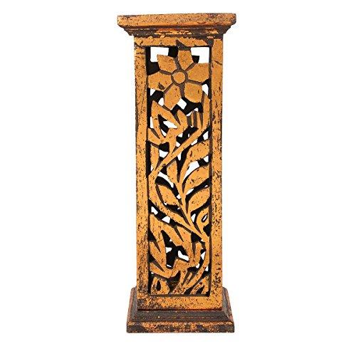 Incense Holders and Burners : Wooden Incense Stick Tower Burner Stand Holder Handmade Ash Catcher Floral Design by Store Indya