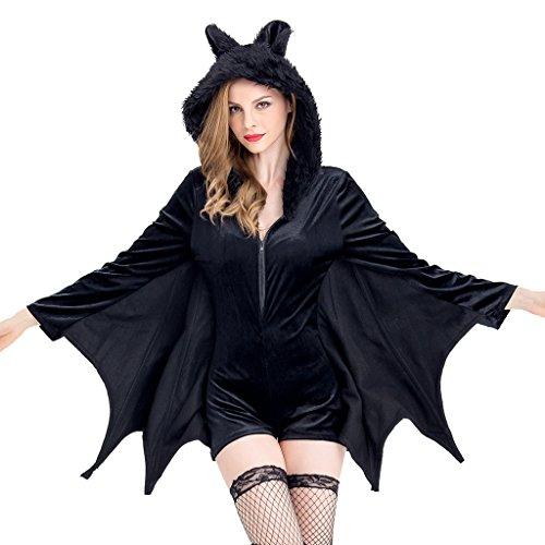 Colorful House Women's Vampire Bat Costume Halloween Cape (Black, Size L) (Bat Wings Halloween)