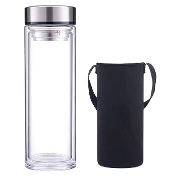 Sunkey Botella Agua de Cristal 1 Litro Térmica Vidrio al Vacío sin Bpa con Tapa y Filtro extraíble de Acero Inoxidable Ideal para Oficina Portatil ...