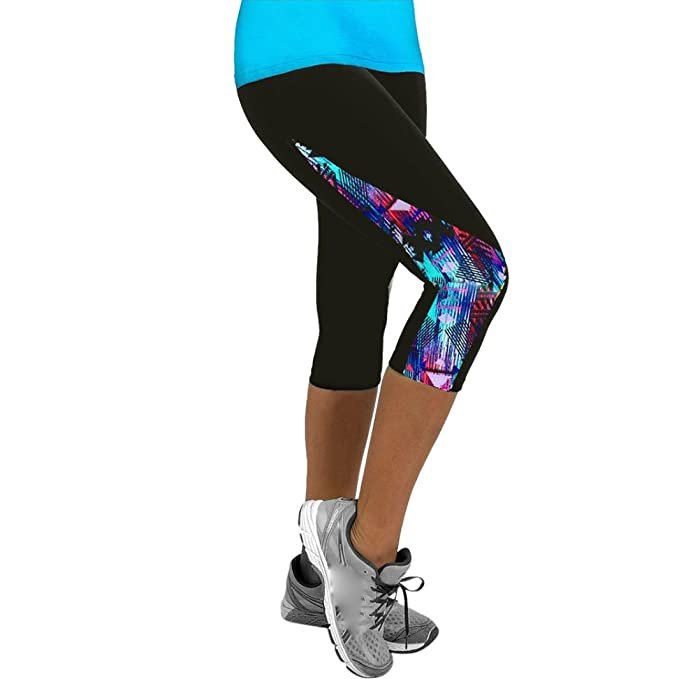 Koly Womens Yoga Sports Gym Workout Waistband Skinny Shorts Pants