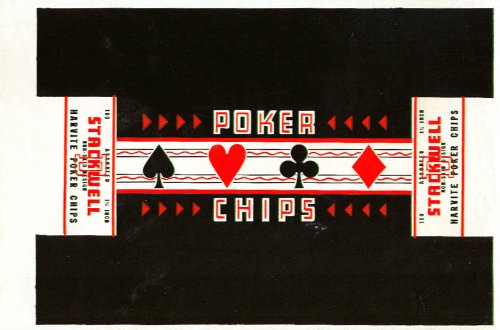 - Stackwell Harvite Poker Chips boxlid label proof 1950s