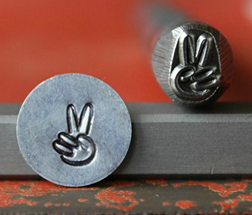 SUPPLY GUY 5mm - 7mm Single Metal Punch Design Stamp: Symbols & Signs, Made in USA (Not a Set) (TWO FINGER PEACE SG375-19)