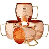 Zap Impex ® Pure Copper Hammered Moscow Mule Mug with Solid Brass Handle Set of 4-16 Ounce