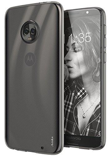 Moto G6 Plus Case, Aeska Ultra [Slim Thin] Flexible TPU Gel Rubber Soft Skin Silicone Protective Case Cover Motorola Moto G6 Plus (Smoke Black)