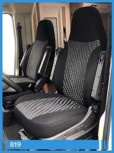BREMER SITZBEZÜGE Stoelhoezen compatibel met camper bestuurder en passagierskleurnummer, zwart-grijs, 819