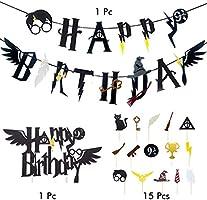 Amycute Bandera de Happy Birthday de Harry Potter y Cupcake Topper Decoracion de Fiesta Mago Cumpleaños Suministros para la Fiesta de Harry Potter