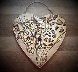Woodburned Giraffe and Baby Art