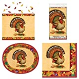 Unique Festive Turkey Tableware Essentials | Dinner Napkins, Oval Plates, Table Cover | Autumn, Fall, Thanksgiving Table Decorations