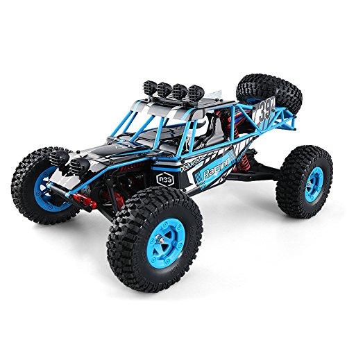 JJRC Q39 RC Cars Off-Road Rock Vehicle High Lander 1:12 Scale4WD RC Desert Truck - 35 km / h+ Fast Speed / 1kg High-torque Servo / 7.4V 1500mAh LiPo - All Terrain Dune Buggy(Blue)(Blue)