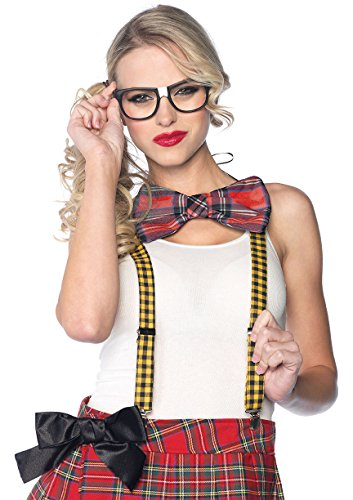 Nerd Costume For School (Leg Avenue 3 Piece Nerd Costume Kit Includes Suspenders Bow Tie and Glasses, Multicolor, One Size)