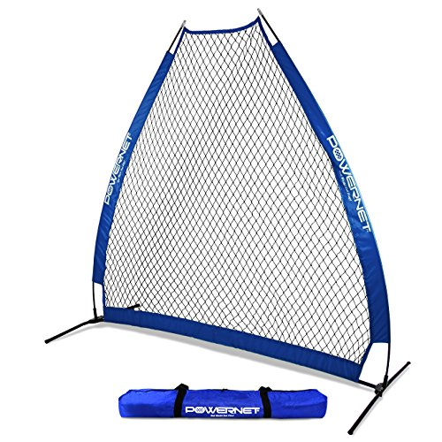 PowerNet 7 Foot Portable Pitching Screen A-Frame (Royal Blue) | Baseball Pitcher Protection | Instant Player and Coach Protector from Line Drives Grounders | Heavy Duty Knotted Netting | BP Net ()