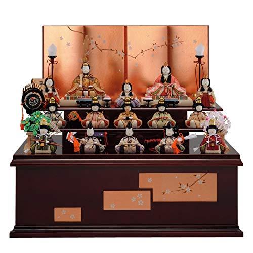 雛人形 一秀 江戸木目込み人形 十五人揃い(15人) 三段収納飾り 書目 平安雛 幅60cm [i-19-d19] ひな祭り   B07L5CQ3V2