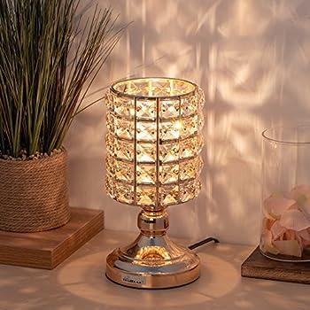 Haitral Crystal Desk Lamps Gold Spherical Night Light Lamp With Metal Base Elegant