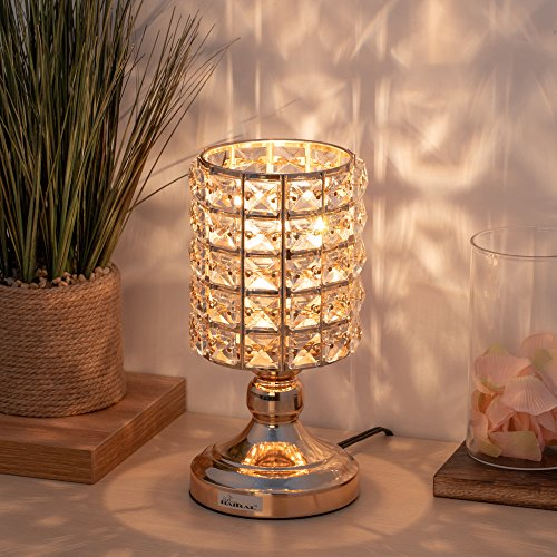 HAITRAL Crystal Table Lamps - Decorative Bedsides Desk Lamp with Crystal Lamp Shade Gold Night Lamps for Bedroom, Living Room, Kitchen, Dining Room, Dorm (HT-BD025)