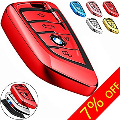 COMPONALL for BMW Key fob Cover, Key Fob Case for BMW 2 5 6 7 Series X1 X2 X3 X5 X6 Premium Soft TPU Anti-dust Full Protection, Red: Automotive