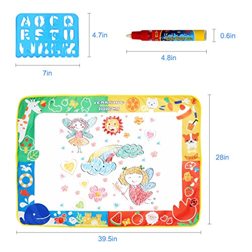 Aquadoodle Mat, Kids Toy Large Water Doodle Mat 39.5'' X 28'' with 3 Magic Pens 2 Drawing Molds, Kids Educational Learning Toy Gift for Boys Girls Toddlers Age 2 3 4 5 Years Old Toddler Toys by Niolio (Image #5)