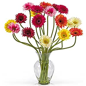 SKB Family Gerber Daisy Liquid Illusion Silk Flower Arrangement New Natural Wedding Decor