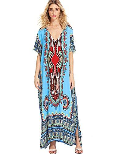 (Milumia Women's Bohemian Ornate Print V Neck Long Beach Cover Up Caftan Maxi Dress Plus Size Blue)