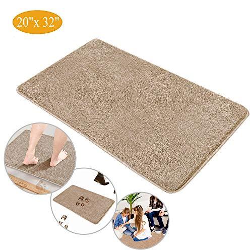 Indoor Doormat Super Absorbent Mud Mat , Magic Step Clean Door Mat Non Slip Dirts Trapper Mat, Outdoor XL Doormat for Bathroom, Front, Inside and Entry Machine Wash Gray Rug (32