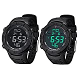 PALADA Men's Digital Watch, All Black Sports Watch with Multi-function Quartz Movement and LED Backlight