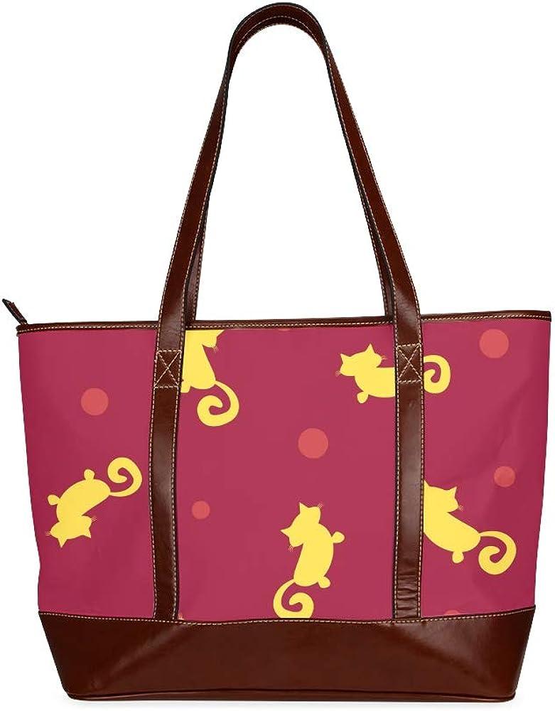 Tote Bags Abstract Silhouettes Cats Polka Dot Cute Travel Totes Bag Fashion Handbags Shopping Zippered Tote For Women Waterproof Handbag