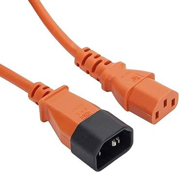 Cable de extensión de alimentación IEC C13 – C14 240 V, color naranja