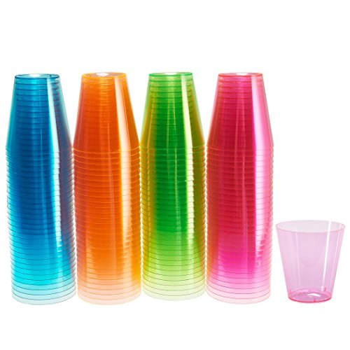 Glow Shot Glass (DuraHome - Hard Plastic Shot Glasses, 2oz. Shooter Tumblers Party Cups in Neon Colors (Blacklight Party) 120-Count)
