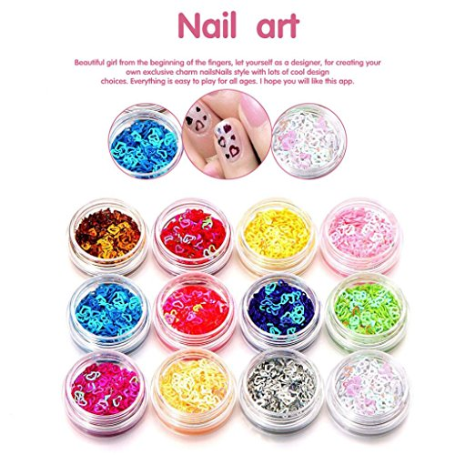 Nail Art Tips 12 Colors 3D Glitter Nail Art Tips Stickers Acrylic 3D Glitter Sequins Manicure DIY - July Diy Of Tank 4th Top