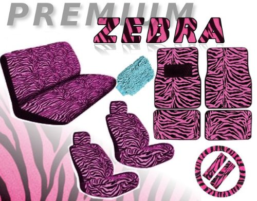 New Premium Grade 16 pieces PINK ZEBRA Interior Seat Cover set With Front Low Back Seat Covers, Rear Bench Seat Cover 4 Pieces PINK ZEBRA Floor Mat set WITH FREE Microfiber Detailing WASH MITT (Zebra Car White Seat Covers)