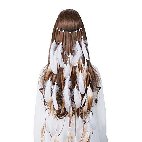 Hippie Feather Headband Indian headband - Handmade Feather Lightweight Indian Fashionable Style Headband (White)