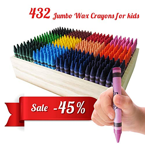 (Histar 432 Jumbo Wax Crayons, Classpack Assortment, 432 Colorful Chunky Crayons, Fat Crayons of 12 Different Colors (36 Each), All-Purpose Art Tools, Easy-Grab)