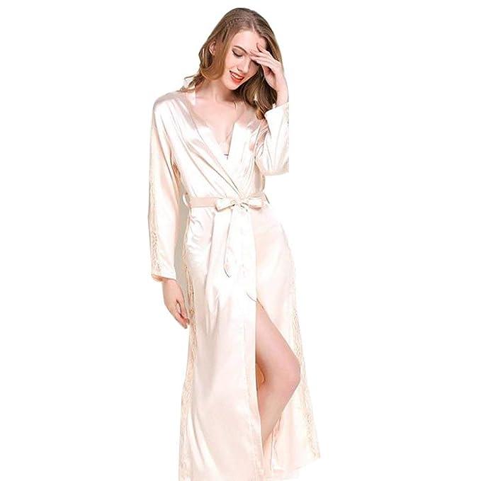 Vestido Largo De Encaje para Mujer Kimono Bata Noche Clásico Calentamiento Noche Calentamiento Sche Albornoz Pijama Camisón Mujeres (Color : Champagner, ...