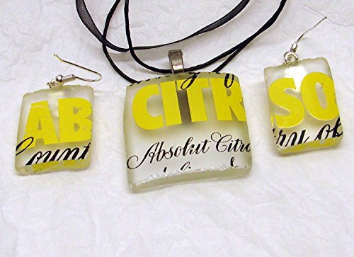 UpCycled Absolut Citron Vodka Bottle Novelty Jewelry Pendant and Earring Set ()